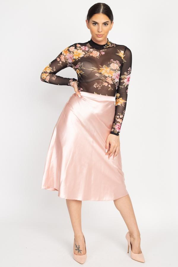 A-line Satin Midi Skirt - Dusty Blush - WOMEN BOTTOMS - NIGEL MARK