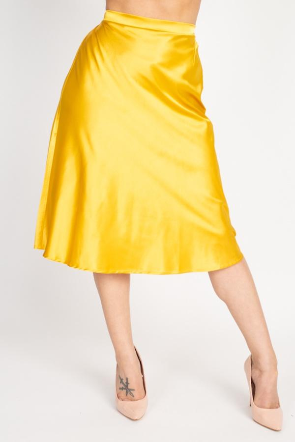 A-line Satin Midi Skirt - Gold - WOMEN BOTTOMS - NIGEL MARK