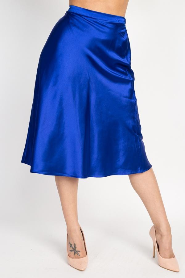A-line Satin Midi Skirt - Royal - WOMEN BOTTOMS - NIGEL MARK
