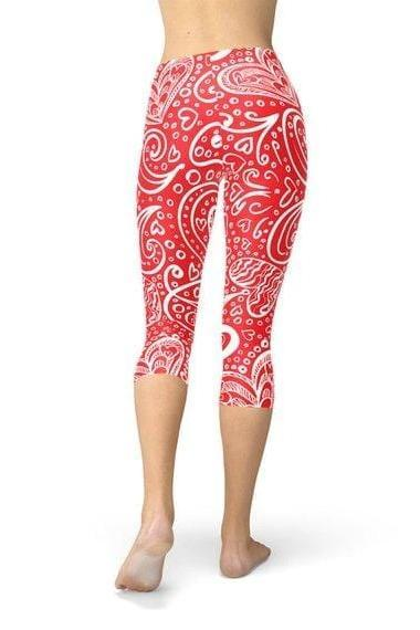 Abstract Floral Hearts Capri Leggings - BOTTOMS - NIGEL MARK