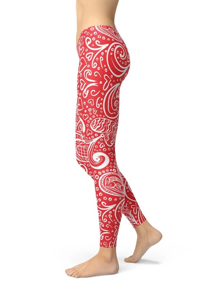 Abstract Floral Hearts Leggings - ACTIVEWEAR - NIGEL MARK