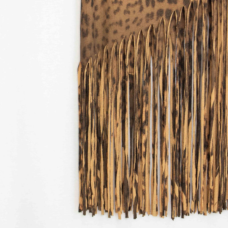 Animal Print Skirt with Fringe - WOMEN BOTTOMS - NIGEL MARK