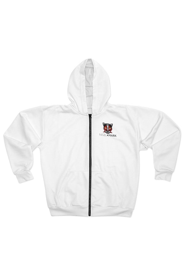 men's white panther logo zip hoodie