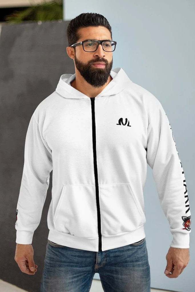 white and black side panther logo zip hoodie