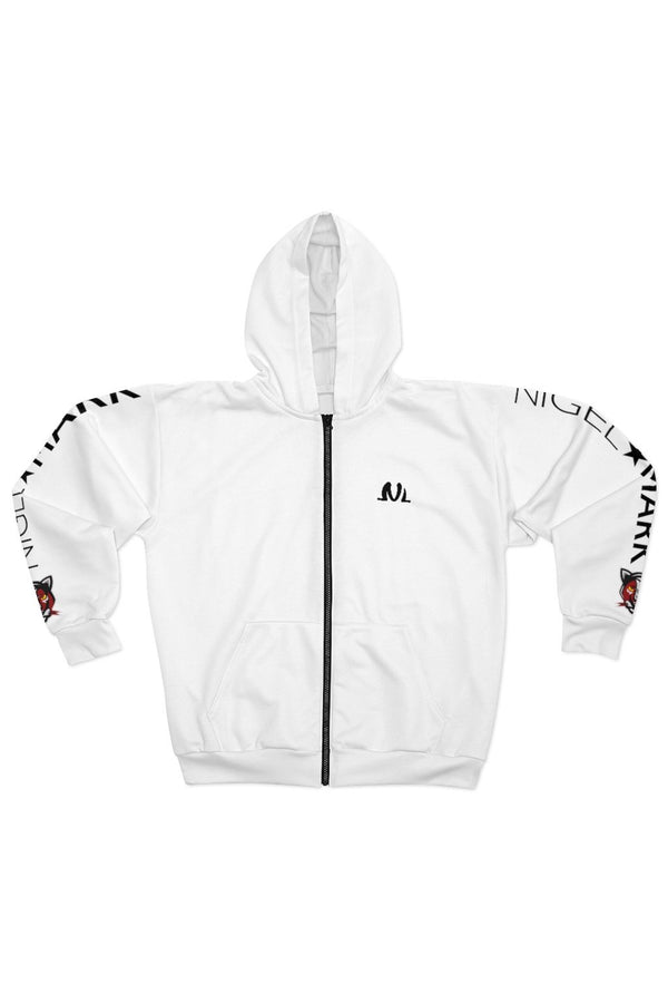 men's white and black side panther logo zip hoodie