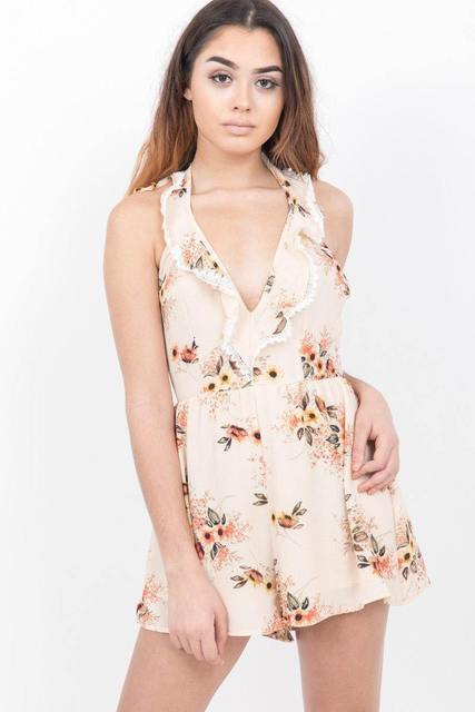 Apricot Plunge Neck Floral Playsuit - JUMPSUITS & ROMPERS - NIGEL MARK