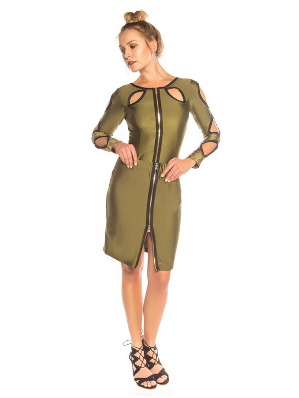 Army Green Peek-A-Boo Skirt - Swimwear - NIGEL MARK