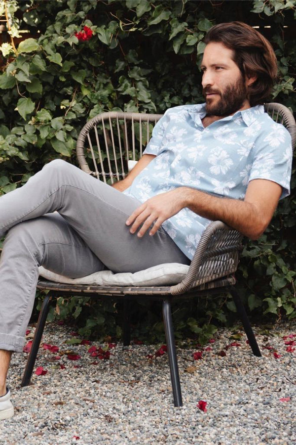 Baby Blue Floral Shirt - MEN TOPS - NIGEL MARK
