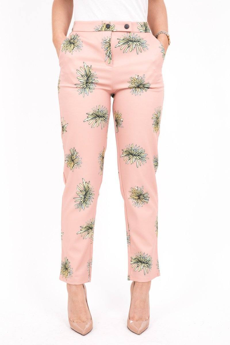 Baby Pink Floral Trousers - BOTTOMS - NIGEL MARK