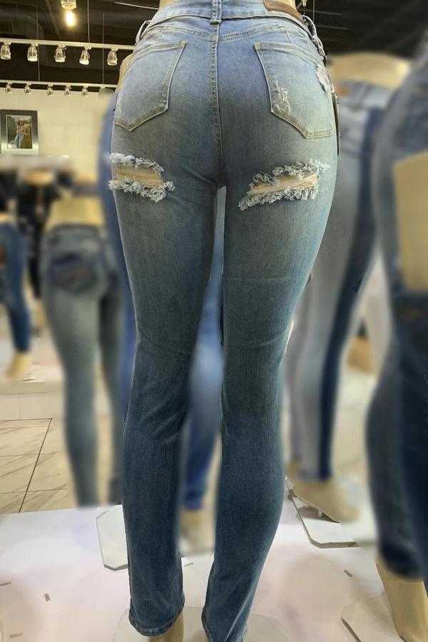 Back Distressed Jeans - JEANS - NIGEL MARK