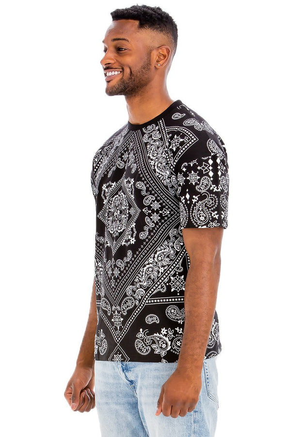 man in bandana print t shirt