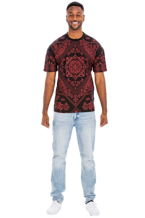 Bandana Print T-Shirt - Men's Clothing - NIGEL MARK