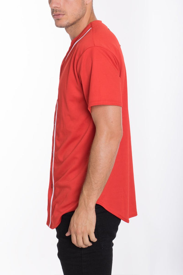 Baseball Jersey - Red - MEN TOPS - NIGEL MARK