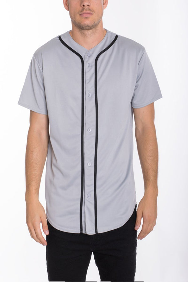 Baseball Jersey - Silver/Black - MEN TOPS - NIGEL MARK
