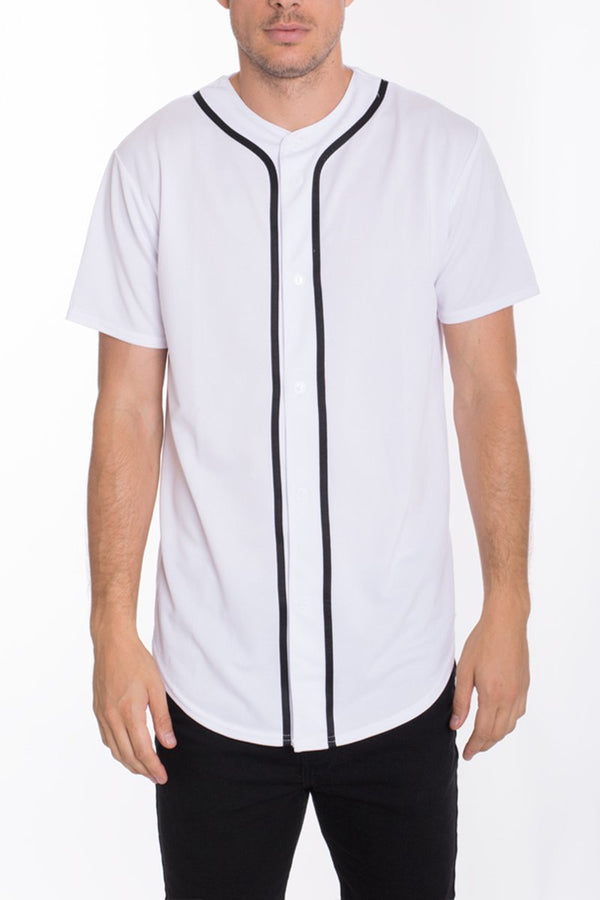Baseball Jersey - White - MEN TOPS - NIGEL MARK