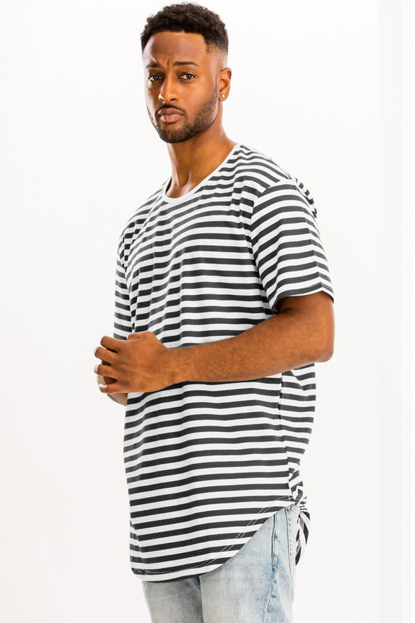 BASIC STRIPED TEE- BLACK/ WHITE - MEN TOPS - NIGEL MARK