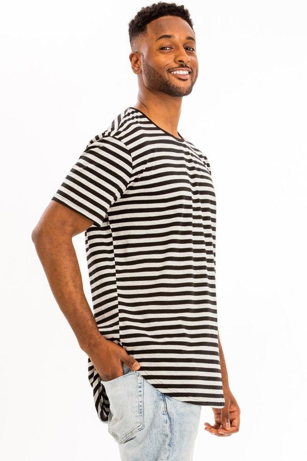 Basic Striped Tee - Black/Grey - Men's Clothing - NIGEL MARK