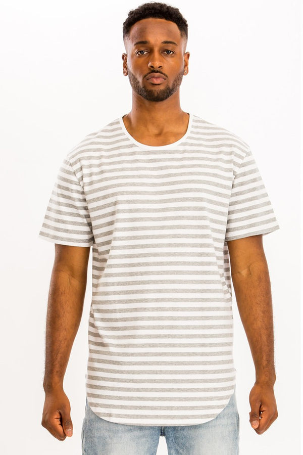 Basic Striped Tee - White/Grey - Men's Clothing - NIGEL MARK