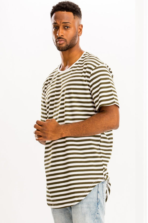 Basic Striped Tee - White/Olive - Men's Clothing - NIGEL MARK
