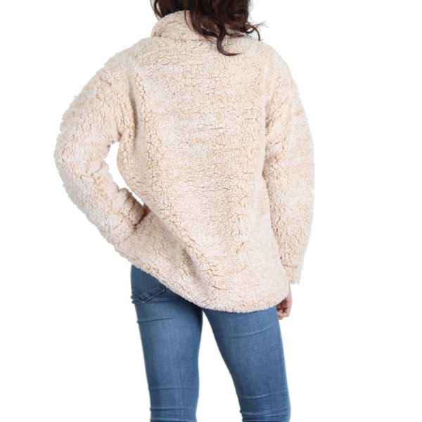 Beige Quarter-Zip Pullover Sherpa - Women's Clothing - NIGEL MARK