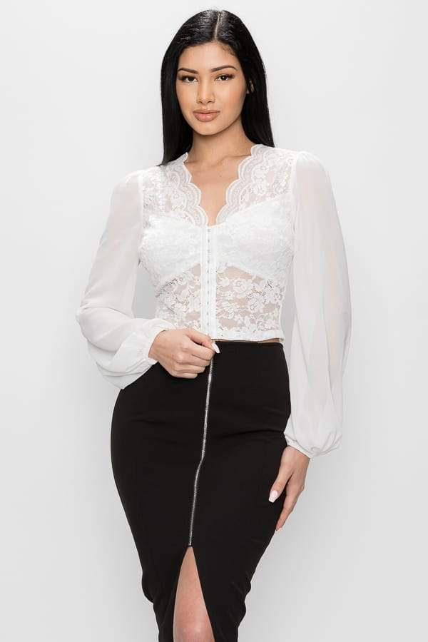Bell Sleeve Lace Crop Top - White - WOMEN TOPS - NIGEL MARK