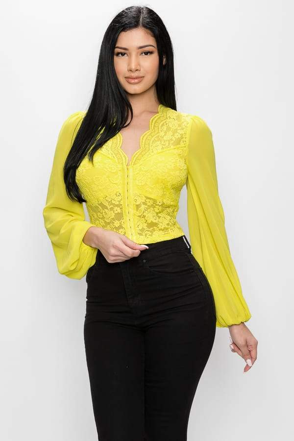 Bell Sleeve Lace Crop Top - Yellow - WOMEN TOPS - NIGEL MARK