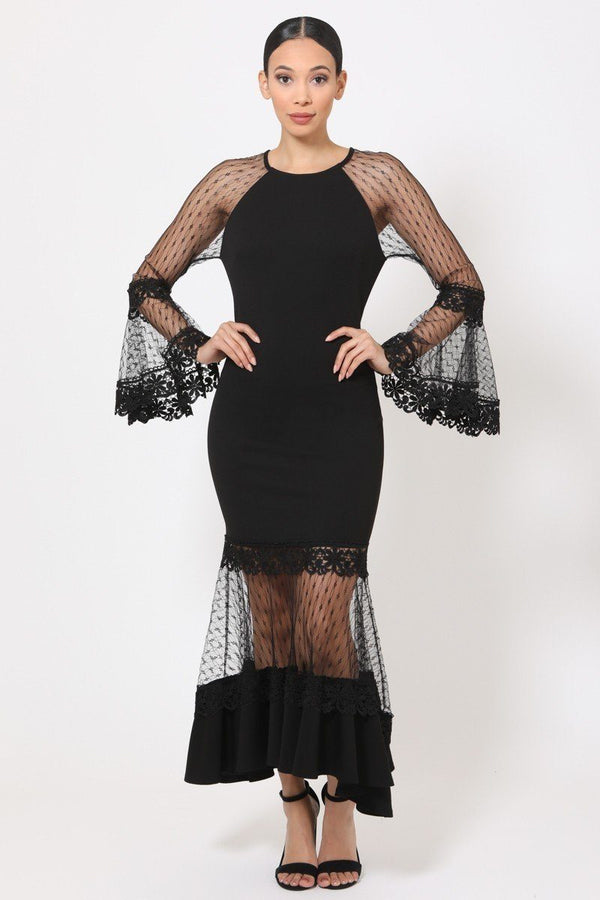 black mesh bell sleeve dress