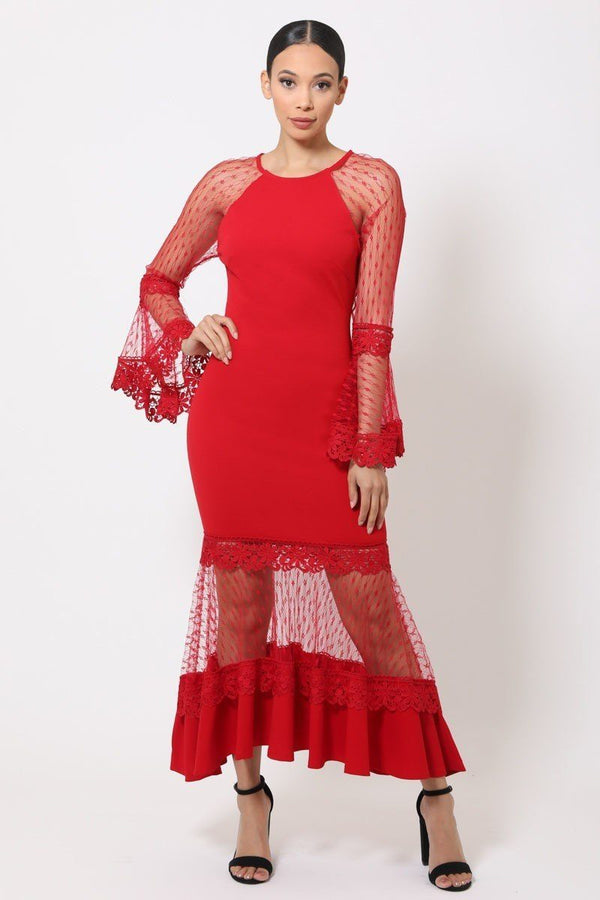 red bell sleeve mesh dress