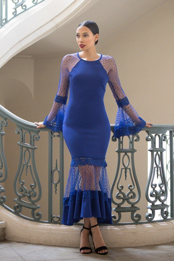 royal blue bell sleeve dress