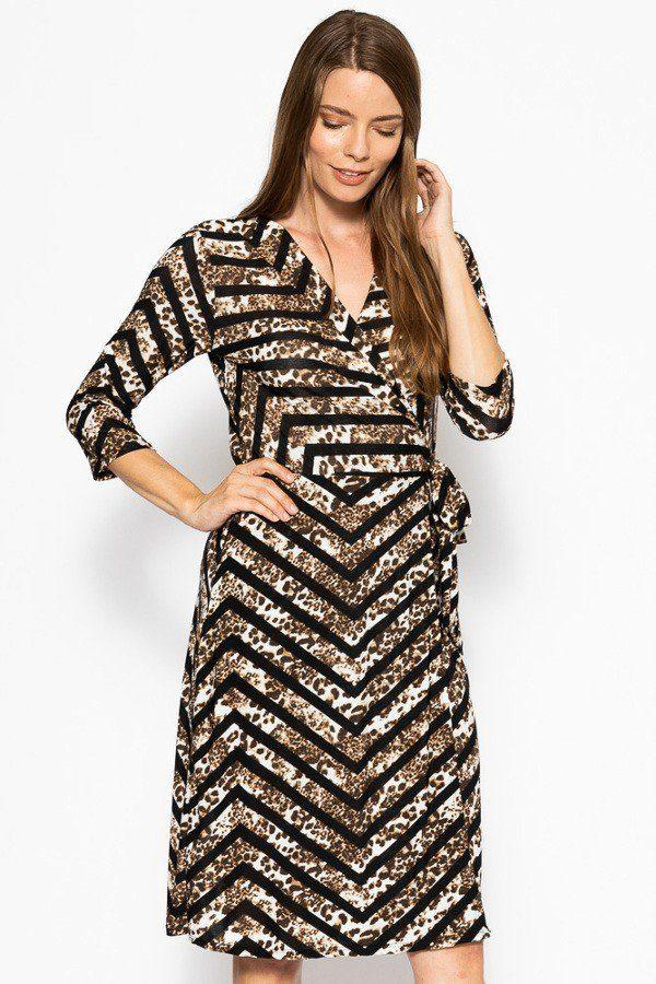 belted waist tie leopard chevron dress