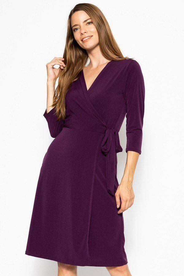 purple belted dress