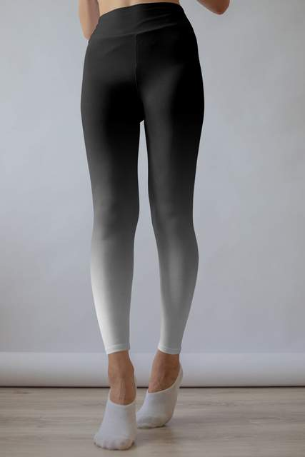 Black and White Ombre Leggings - BOTTOMS - NIGEL MARK