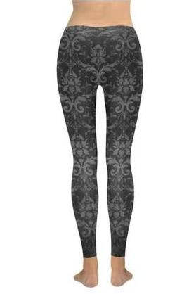 Black Baroque Leggings - BOTTOMS - NIGEL MARK