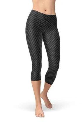 Black Carbon Fiber Capri Leggings - BOTTOMS - NIGEL MARK
