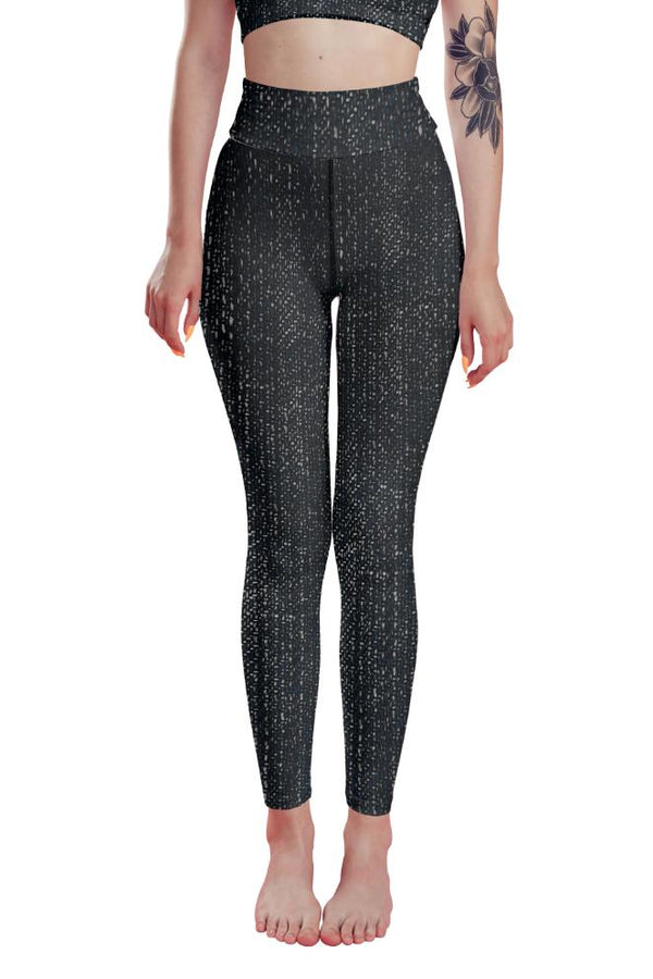Black Denim Printed High Waist Leggings - PLUS ACTIVEWEAR - NIGEL MARK