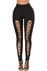 Black Grommet Lace Up Front Leggings - BOTTOMS - NIGEL MARK