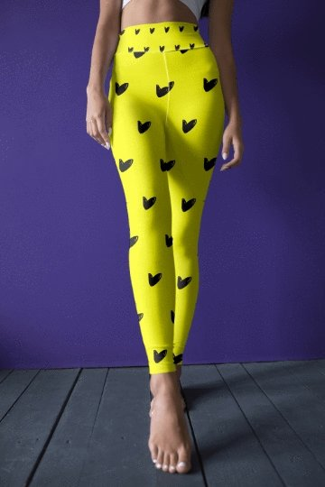 Black Hearts On Yellow Leggings - BOTTOMS - NIGEL MARK