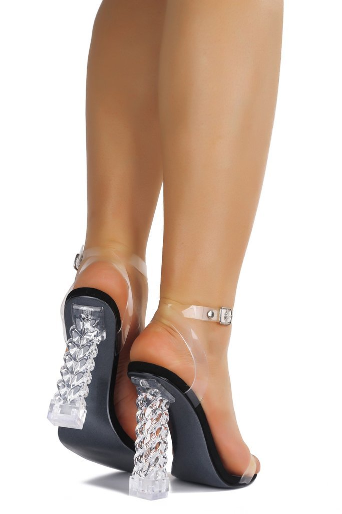 Black Holographic Strapped Heels - WOMEN SHOES & ACCESSORIES - NIGEL MARK