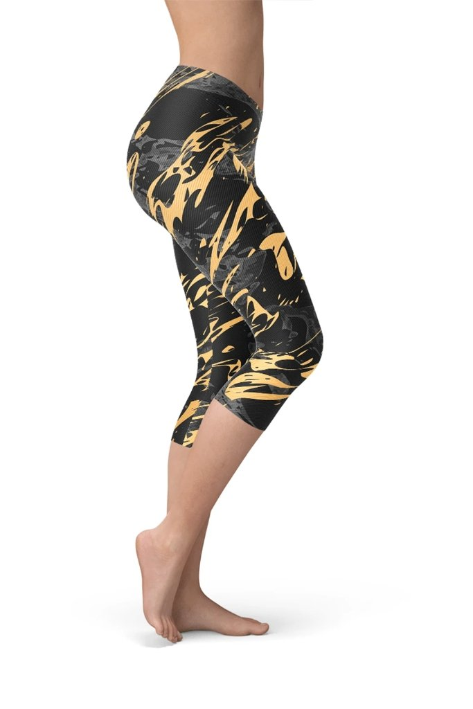Black Marble And Gold Splash Capri Leggings - BOTTOMS - NIGEL MARK
