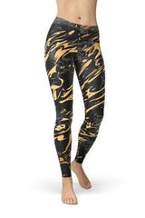 Black Marble With Gold Splash Leggings - BOTTOMS - NIGEL MARK