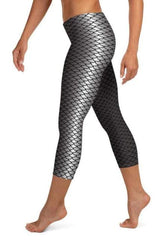 Black Mermaid Printed Leggings - WOMEN BOTTOMS - NIGEL MARK