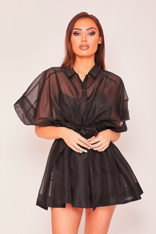 Black Mesh Shirt Dress - DRESSES - NIGEL MARK