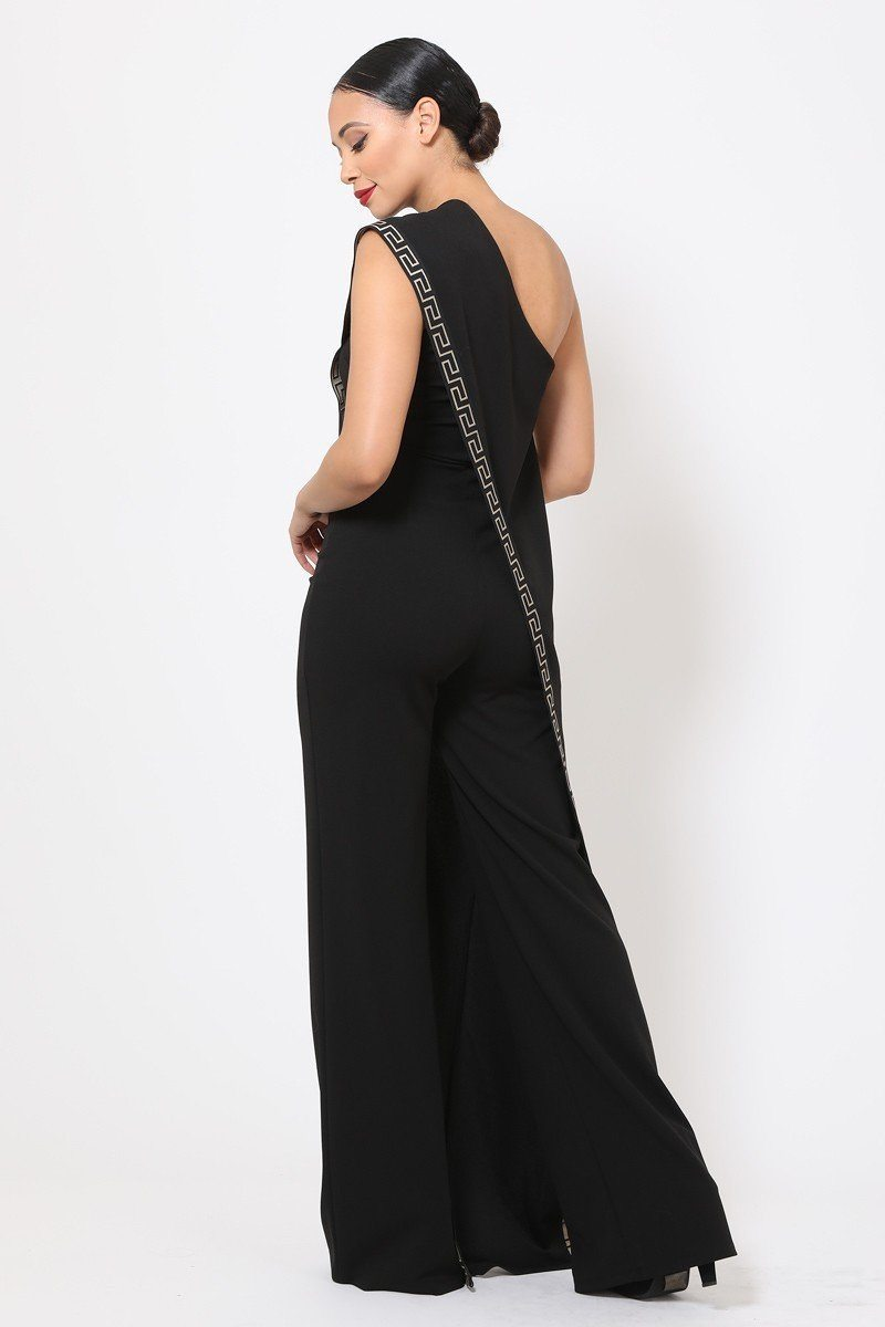 Black One Shoulder Greek Jumpsuit - JUMPSUITS - NIGEL MARK