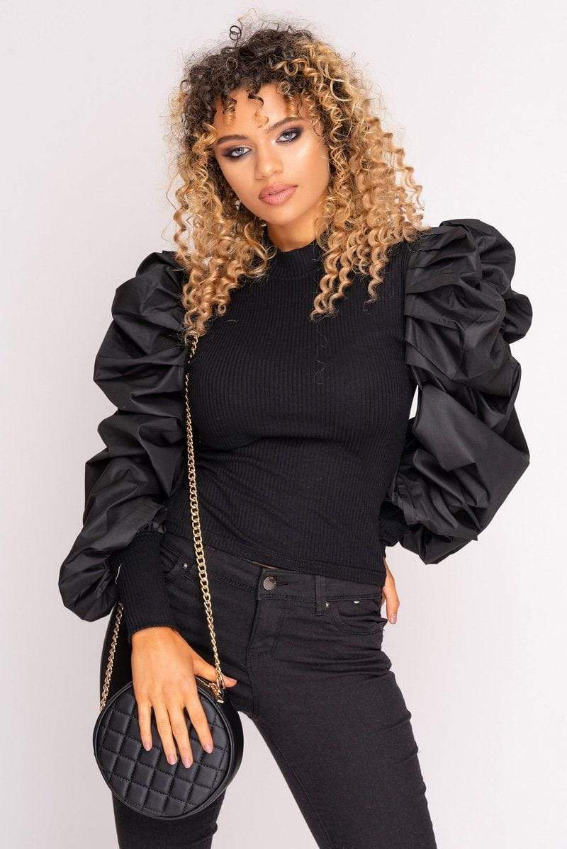 Black Ribbed Puff Sleeve Top - WOMEN TOPS - NIGEL MARK