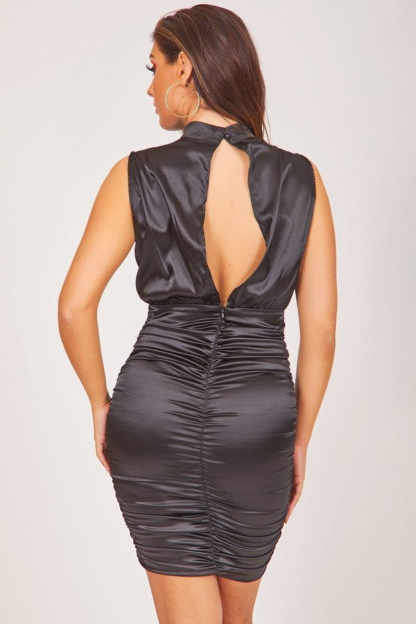 open back satin mini dress