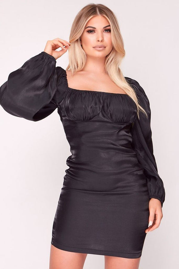 puffy sleeve satin bodycon dress