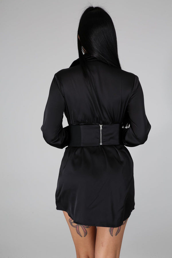 Black Shirt Dress - DRESSES - NIGEL MARK