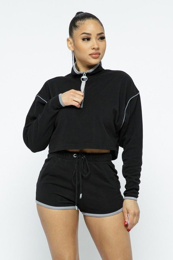 Black Sporty Shorts Set - WOMEN MATCHING SETS - NIGEL MARK