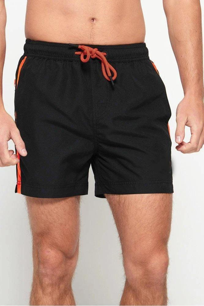 Black Stripe Swim Shorts - MEN SHORTS - NIGEL MARK