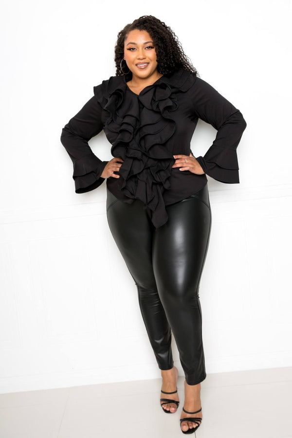 Black Voluminous Ruffle Shirt - PLUS TOPS - NIGEL MARK